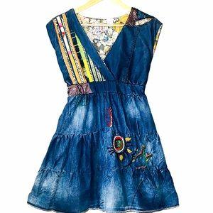 Desigual Patchwork Denim Dress - Small